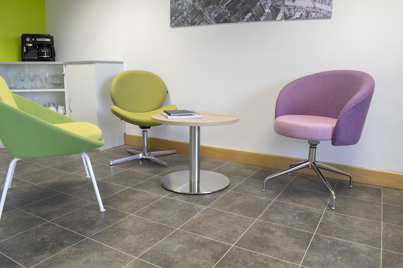 trumpet base table, reception table, coffee table, circular table, halifax oak table, silver base table, reception area, reception seating