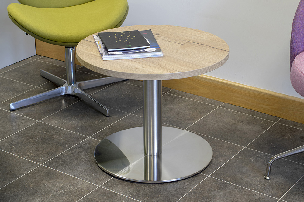 trumpet base table, coffee table, circular table, round table, silver base table, halifax oak