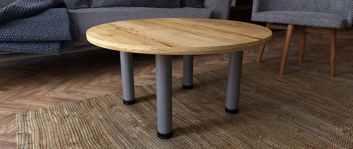 coffee table, tubular leg, tub leg, circular table, silver leg, halifax oak