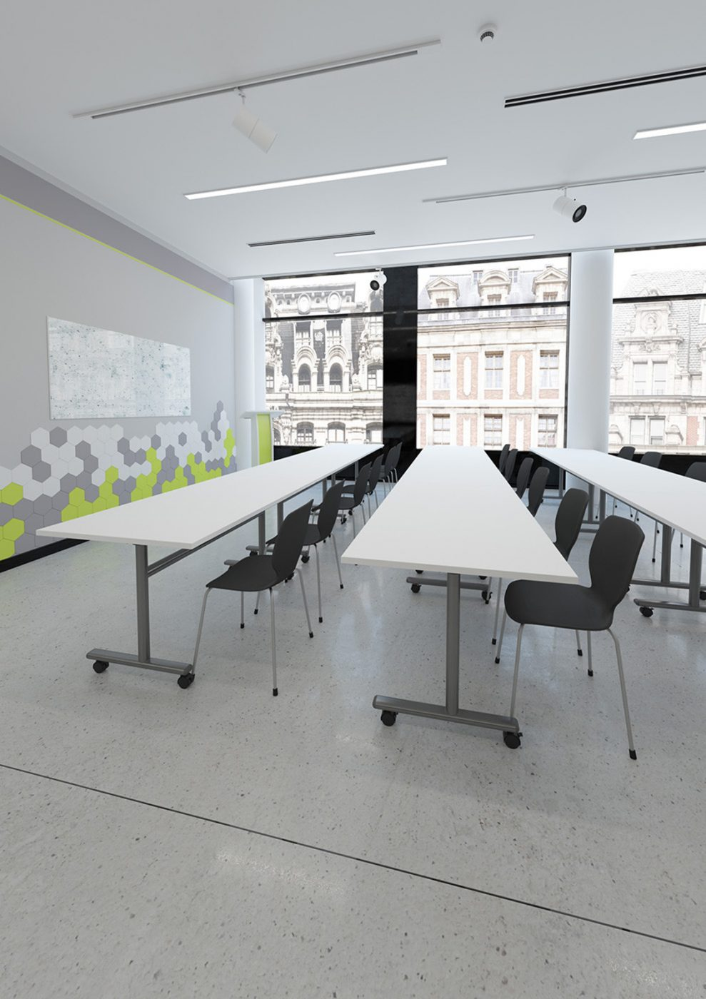 filp top table, bank of tables, classroom tables, office furniture, classroom furniture