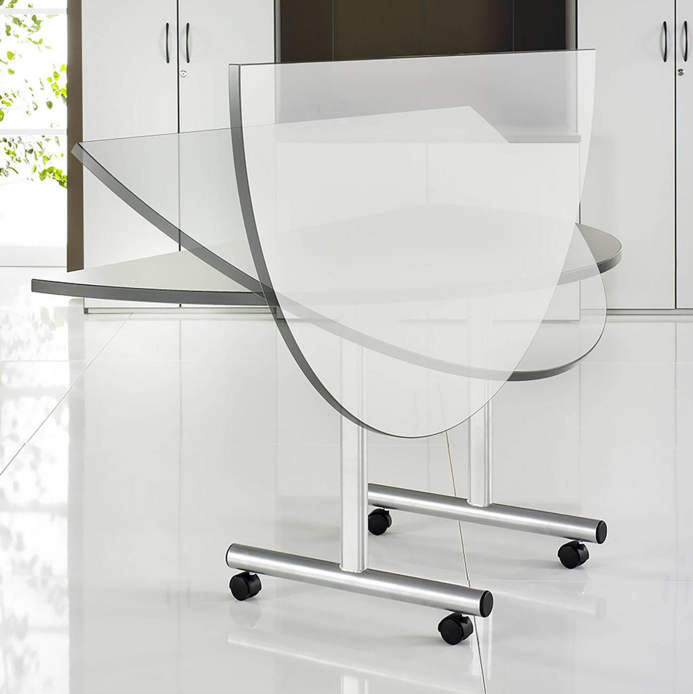 semi circular table, flip top table, mobile table, classroom furniture, office furniture