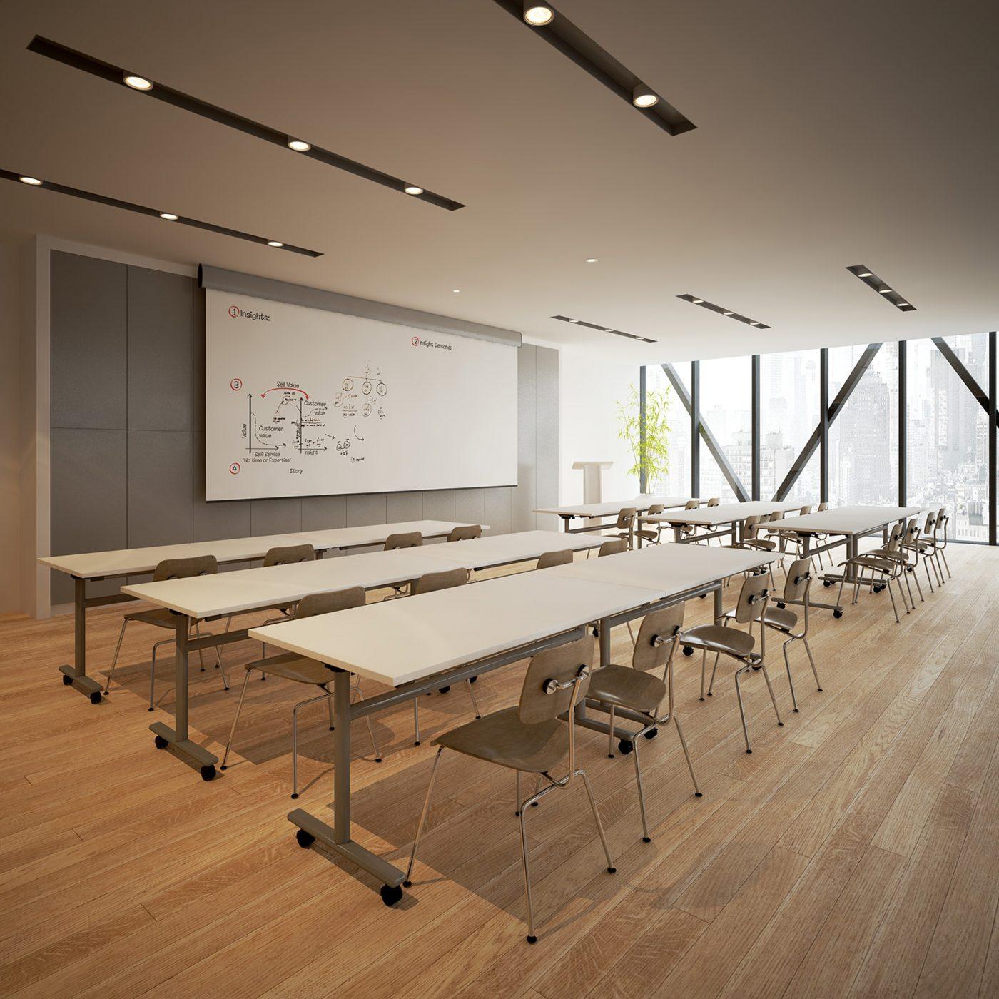 flip top table, bank of desks, classroom furniture, MFC, metal leg