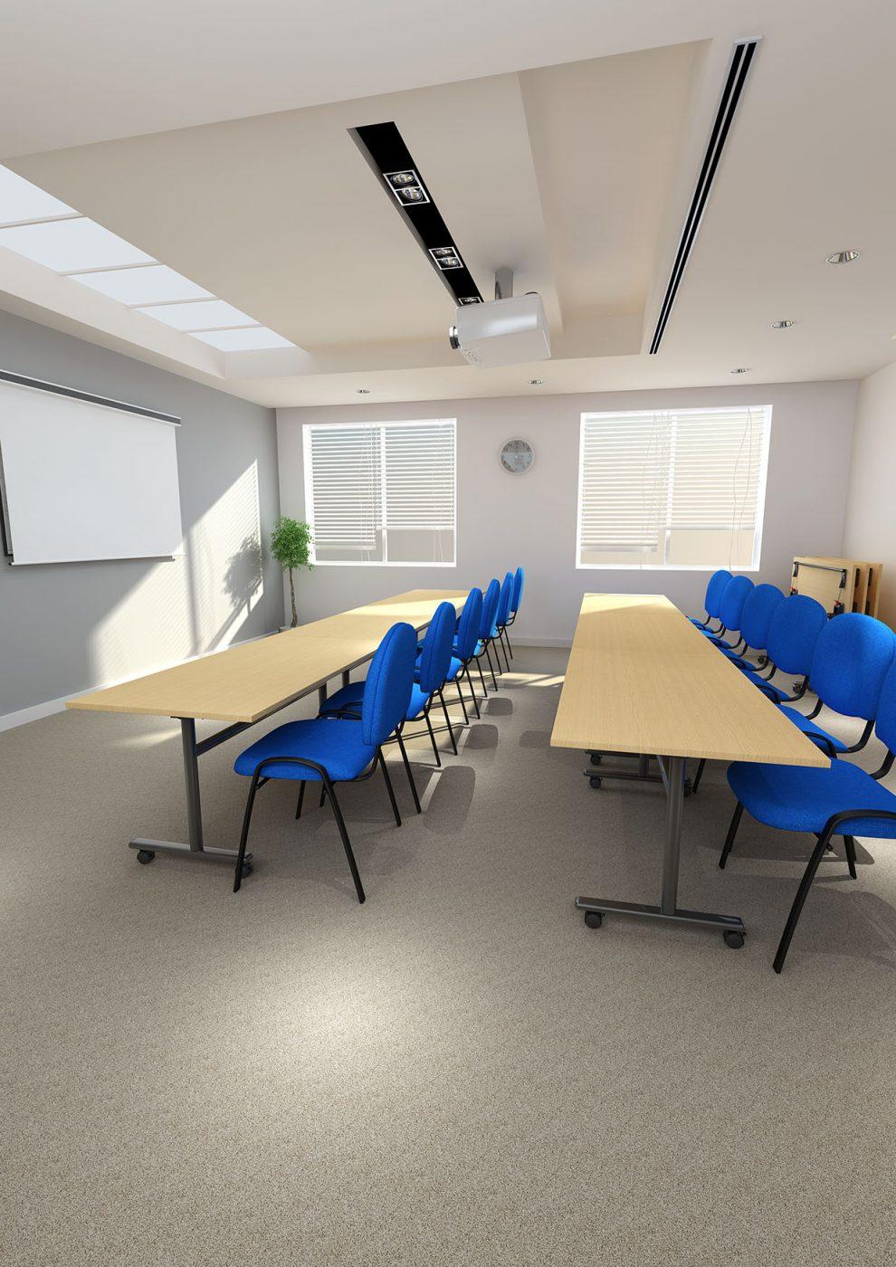flip top tables, bank of desks, MFC, office furniture