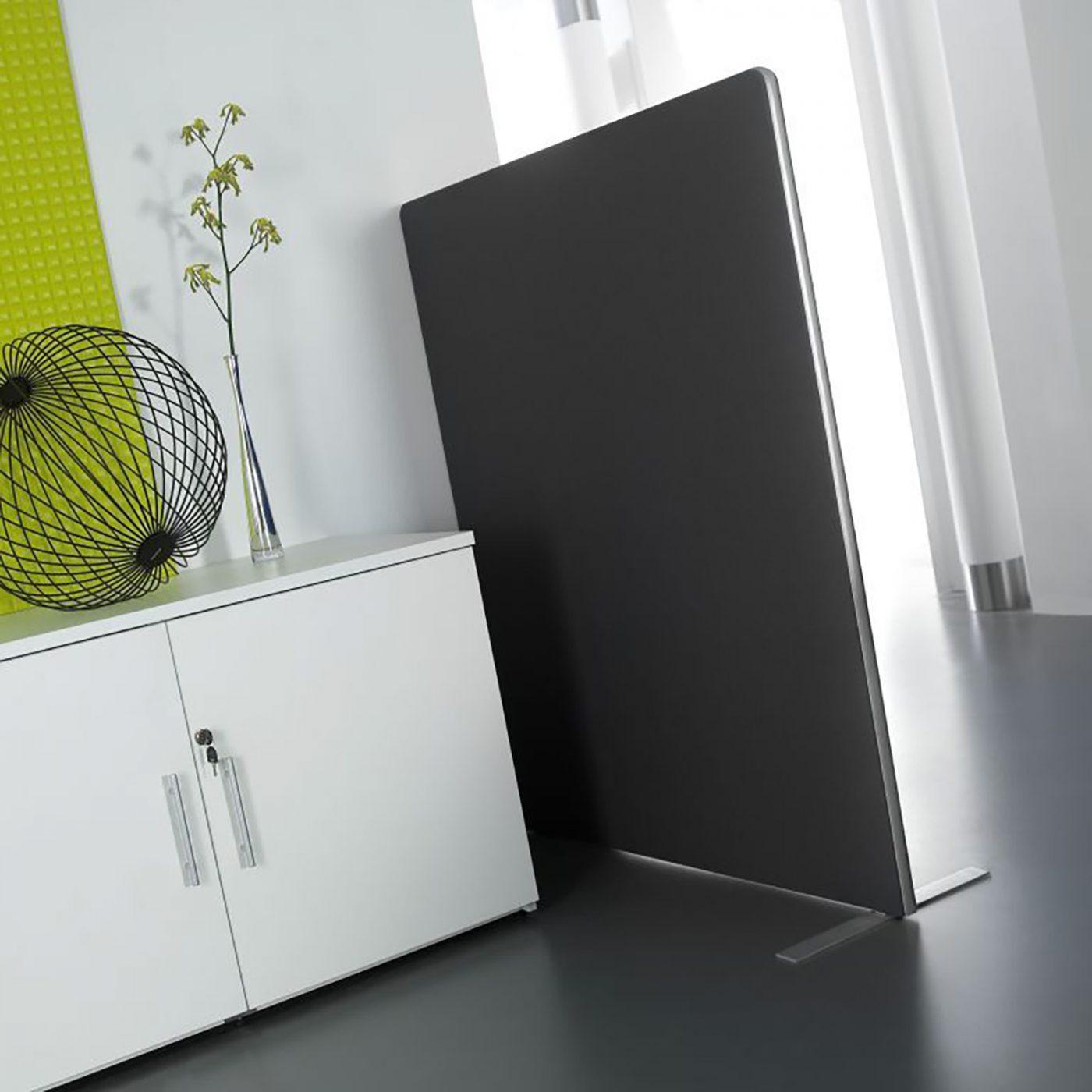 floor standing screen, tall screen, room divider, fabric screen, black fabric screen, silver edged screen