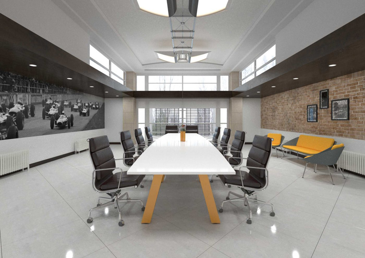 force boardroom, meeting table, boat shaped table, white MFC