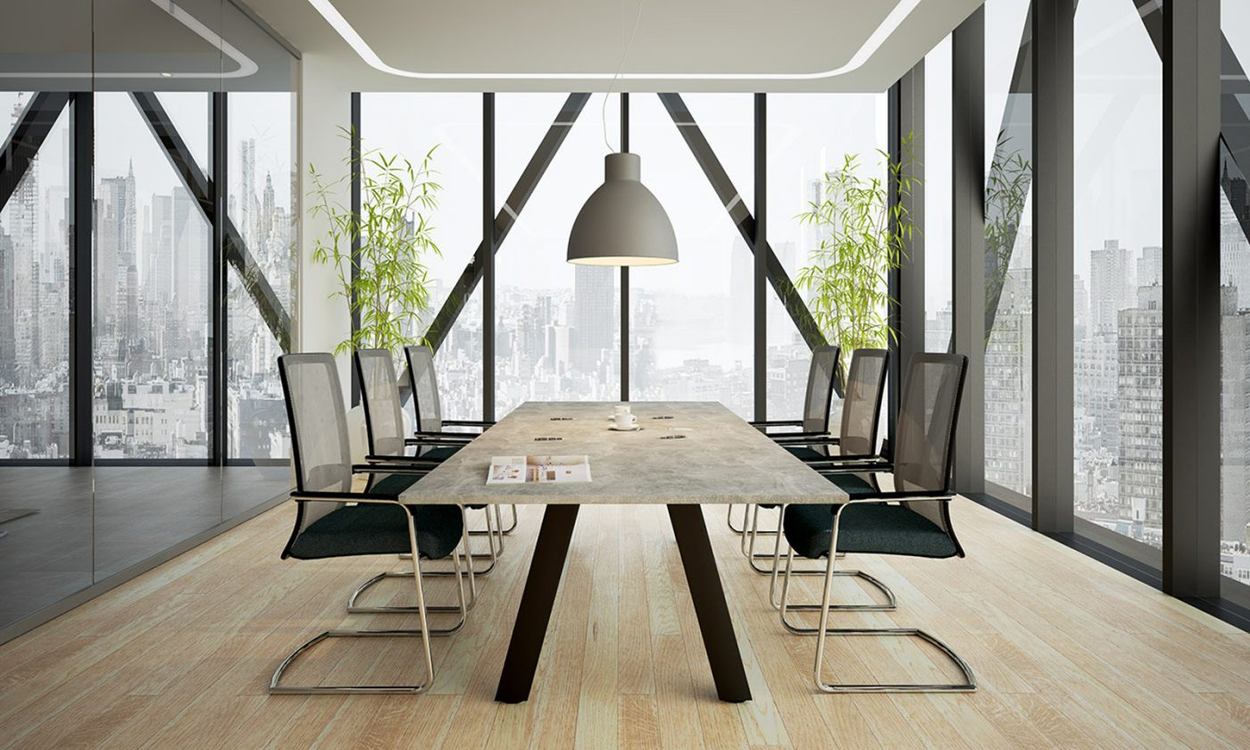 force boardroom table, meeting table, concrete finish, black frame, heavy duty frame