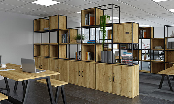 grid storage, office storage, Halifax oak, lockers, cupboards, shelf