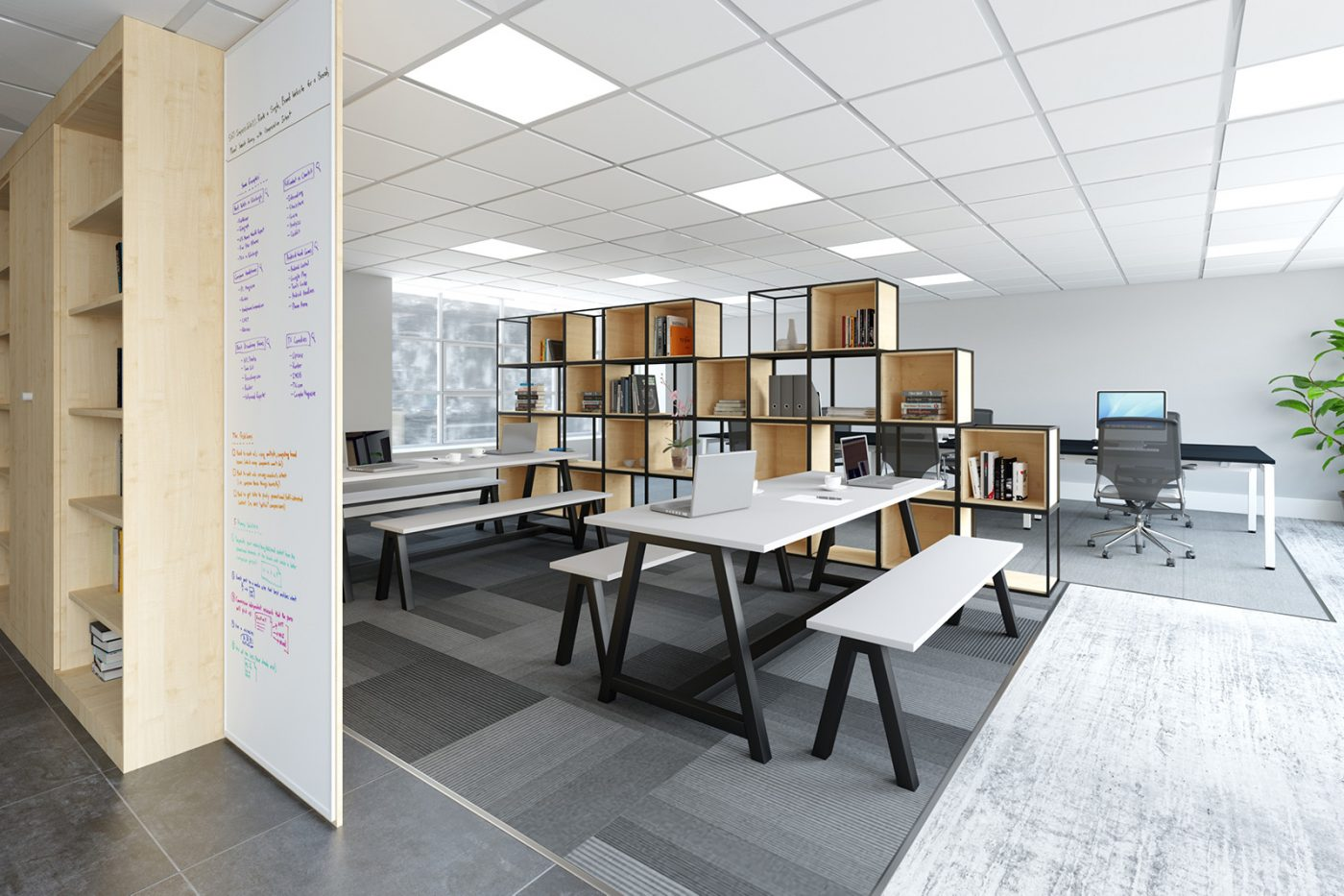 collaborative table, white table, black frame, a frame table, meeting table, breakout table, office table