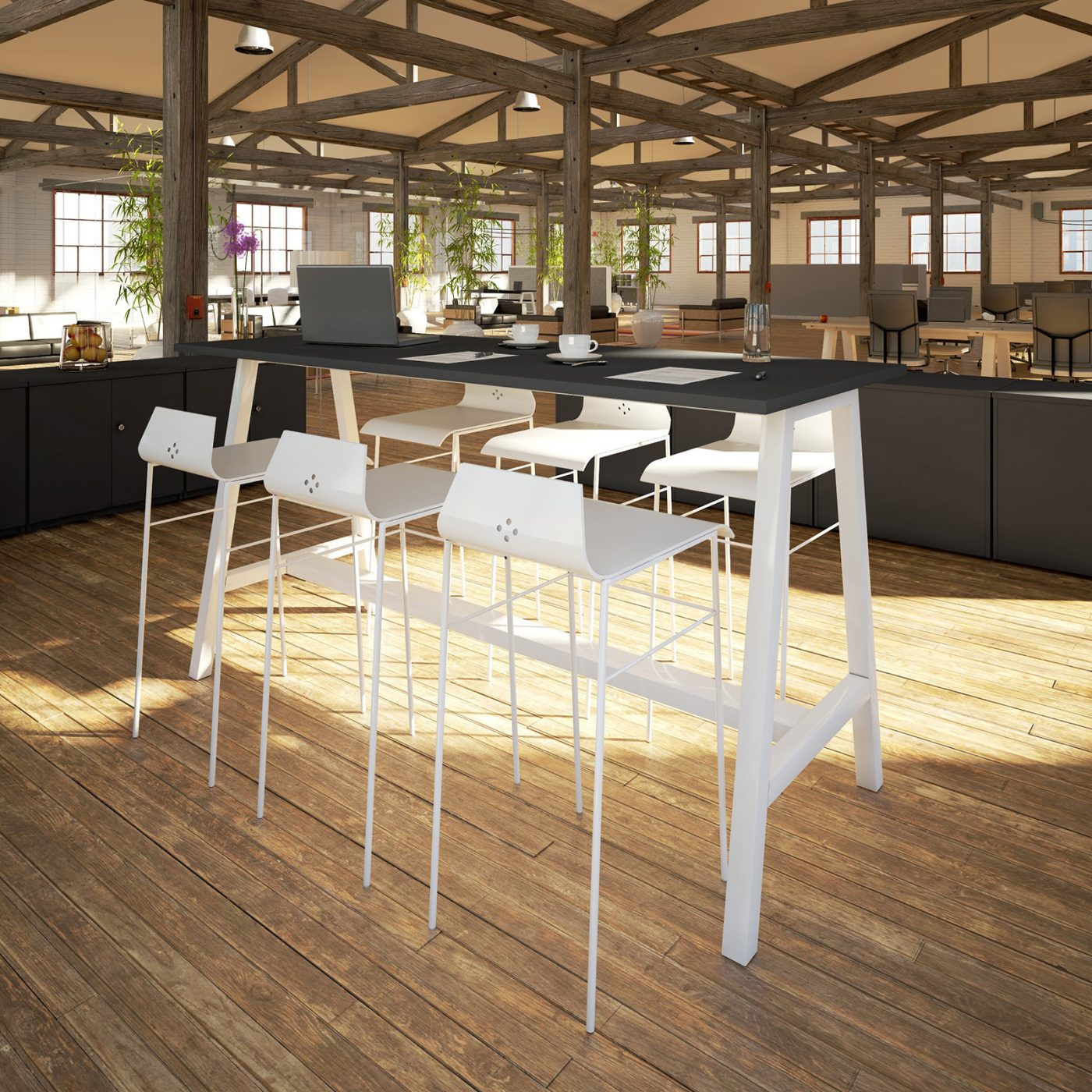 a frame poseur table, meeting table, breakout table, collaborative table, black table, white frame