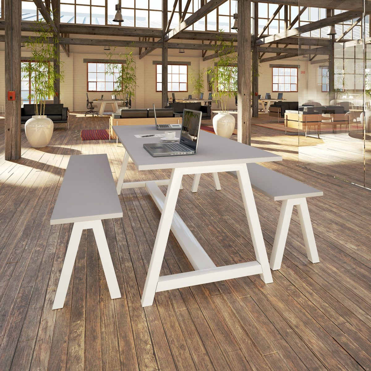 desk high table, meeting table, breakout table, grey table, white frame, A frame