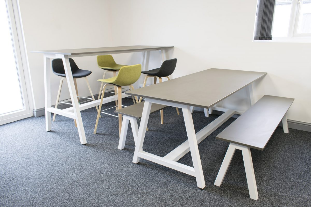 poseur table, desk high table, silver tables, ply edging, bench seats, stools