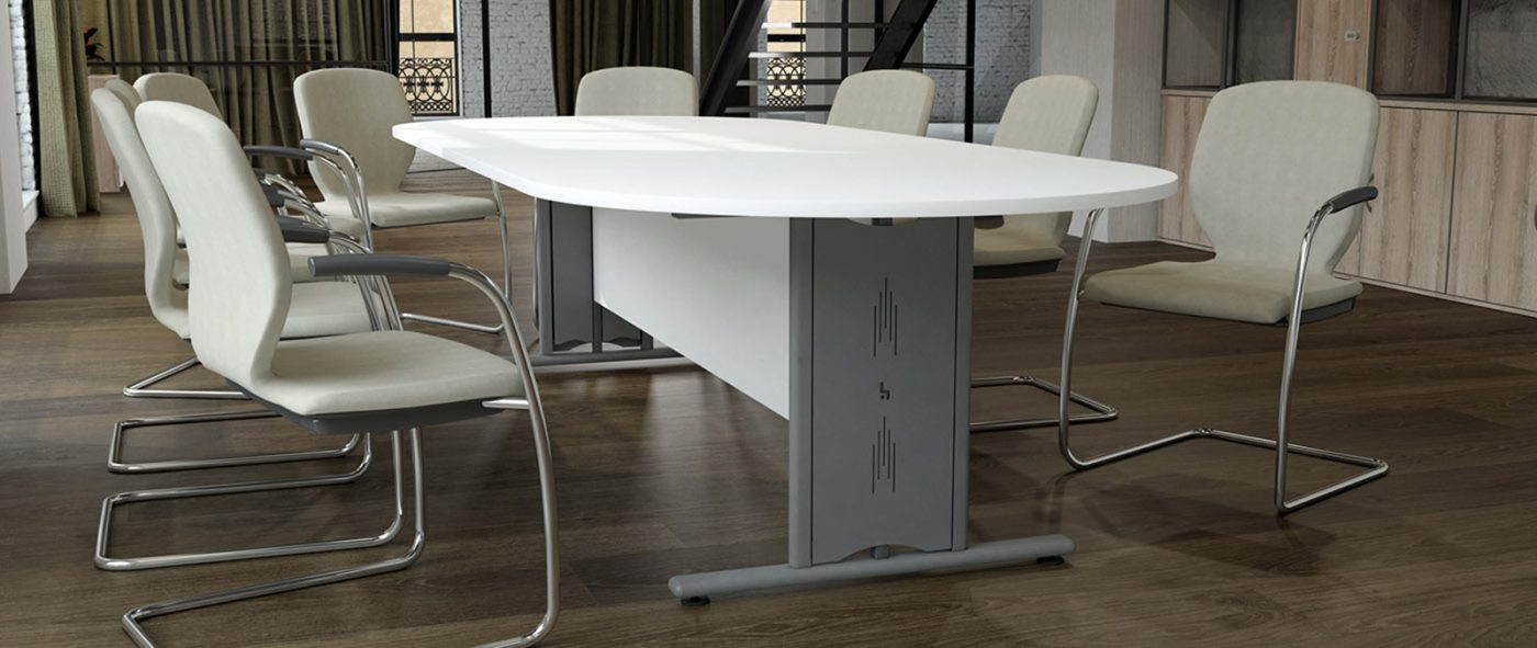 wire managed, boardroom table, meeting table, cable management, white MFC, silver metalwork