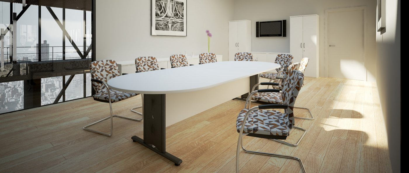 boardroom table, wire managed, black metalwork, dend baordroom table,