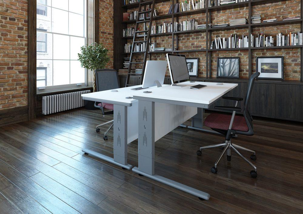 height settable desk, office desking, cantilever leg, white office desk, silver leg,