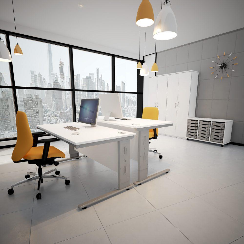 height settable desk, adjustable desk, office desking, white desk, silver leg