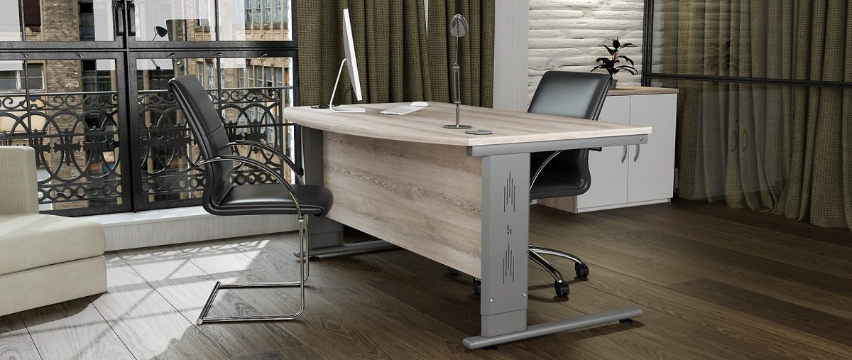 height settable desk, office desk, classic ask desk, silver cantilever leg, executive desk