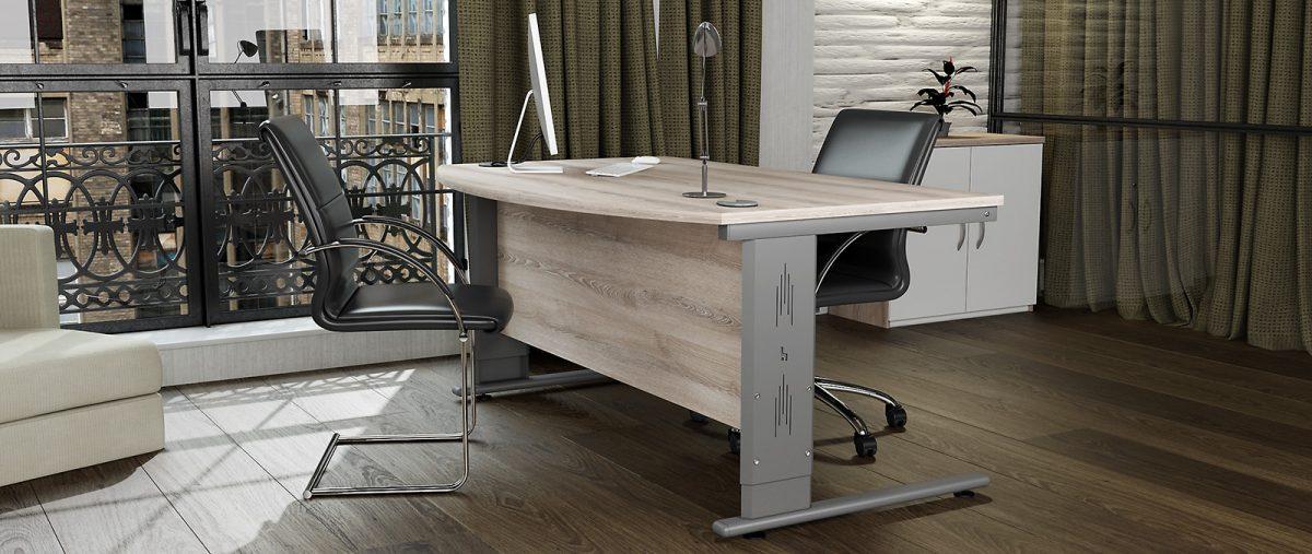 height settable desk, office desk, classic ask desk, silver cantilever leg, executive desk