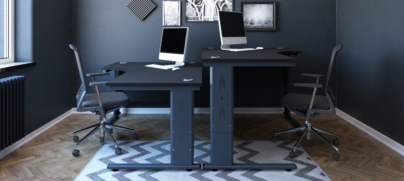 height settable desk, j shape desk, radial desk, black desk, anthracite cantilever leg, back-to-back desk