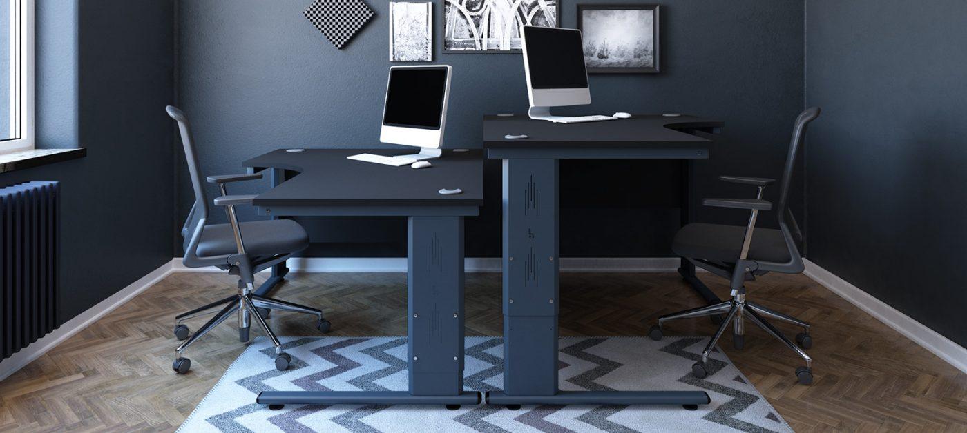 height settable desk, j shape desk, radial desk, black desk, anthracite cantilever leg, back-to-back desk