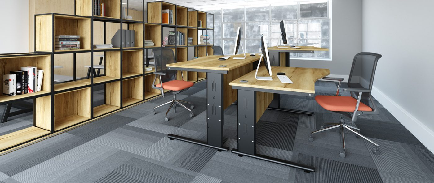 height settable desk, wave desk, back-to-back desks, office desking, oak desk, MFC desktop, black metal leg