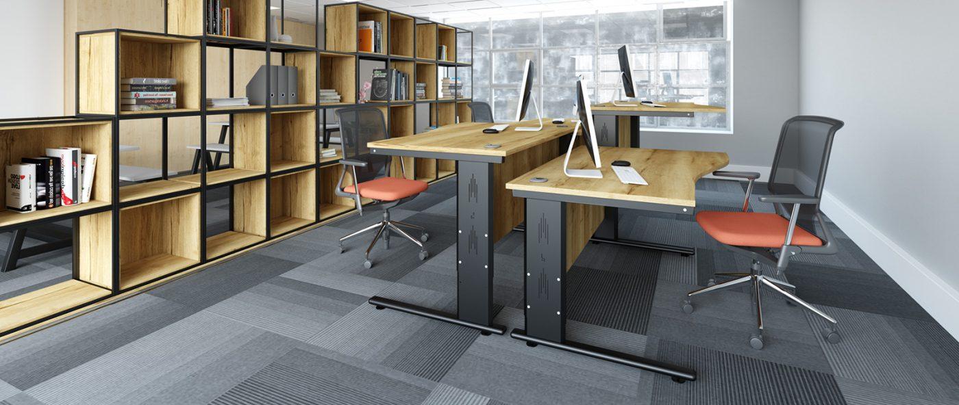 height settable desk, wave desk, back-to-back desks, office desking, oak desk, MFC desktop, black metal leg
