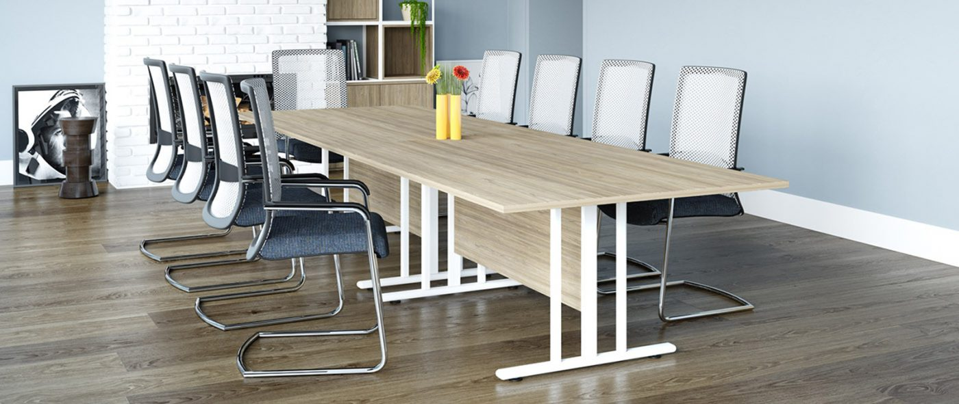 boardroom table, meeting table, I frame, Oak, MFC