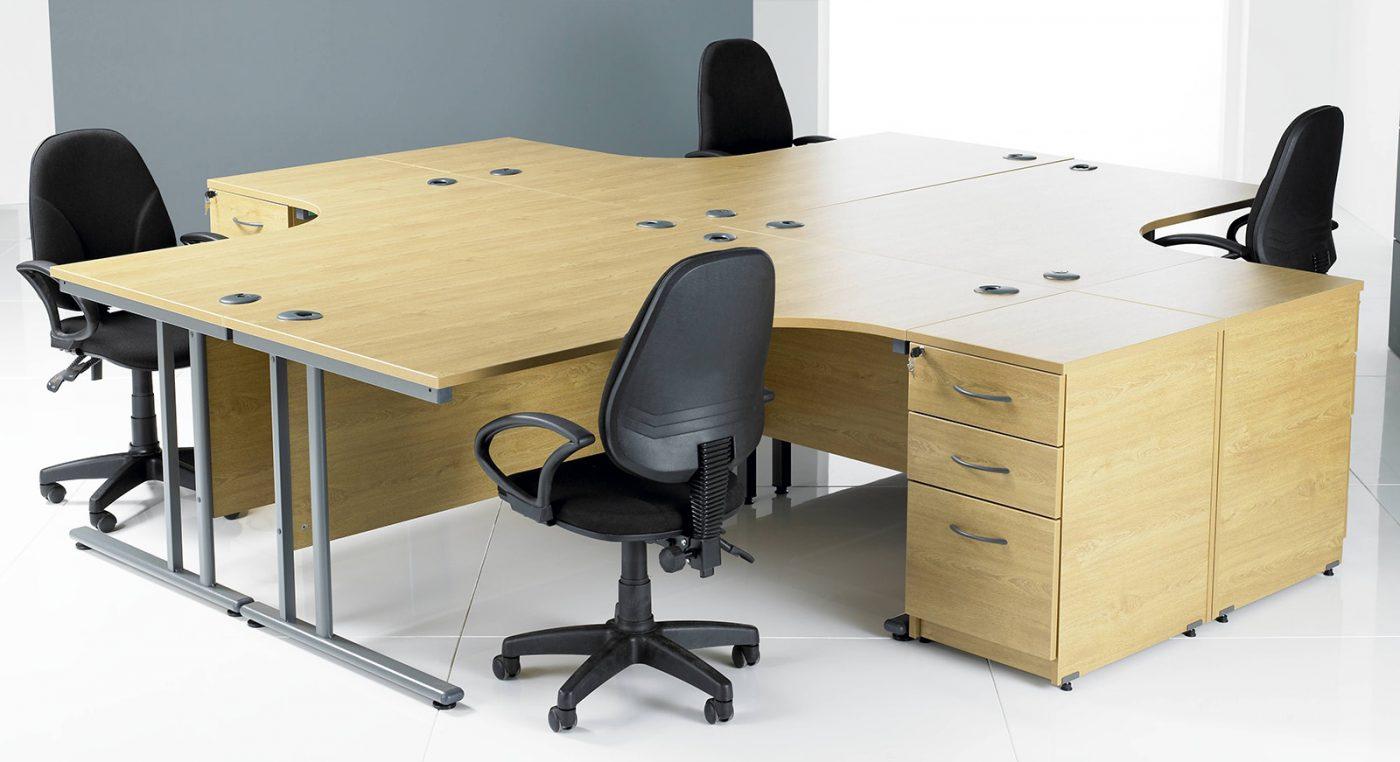 j shape cluster desk, cantilever leg desk, silver leg desk, cheap office desking