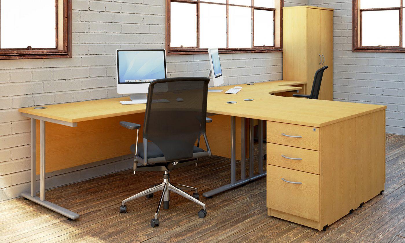 j shape desk, cantilever desk, simple office desk, cheap office desking, under desk storage