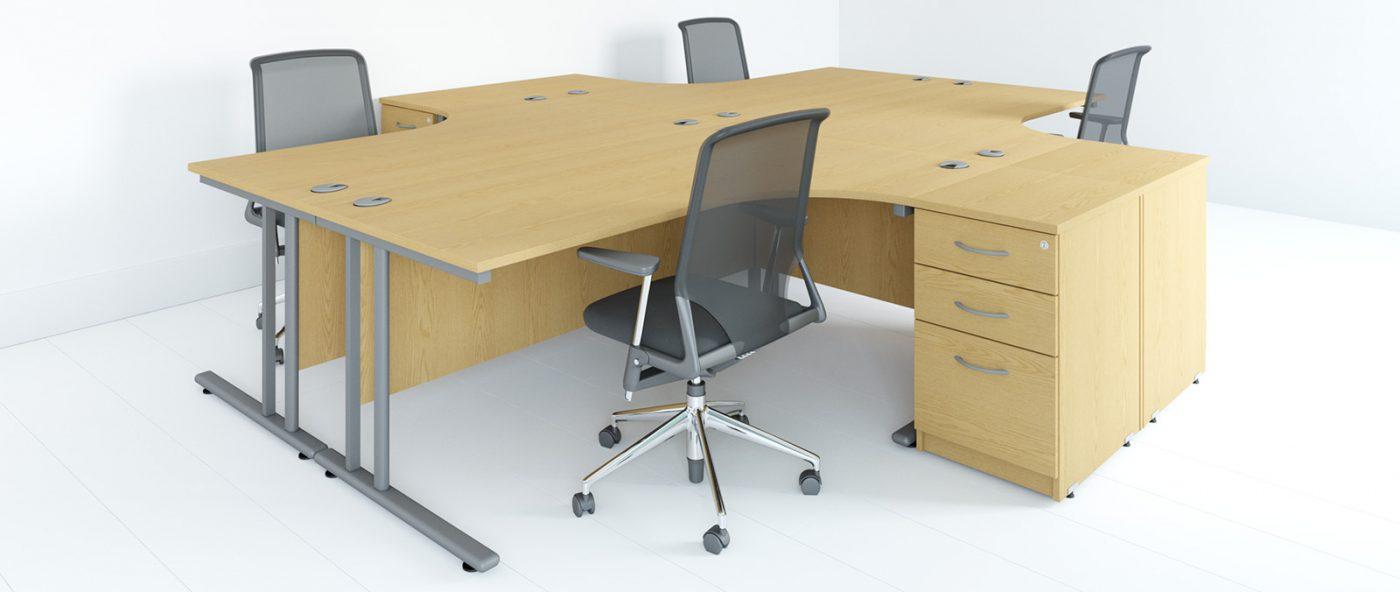 j shape desk, under desk storage, cantilever leg desk, j shape cluster