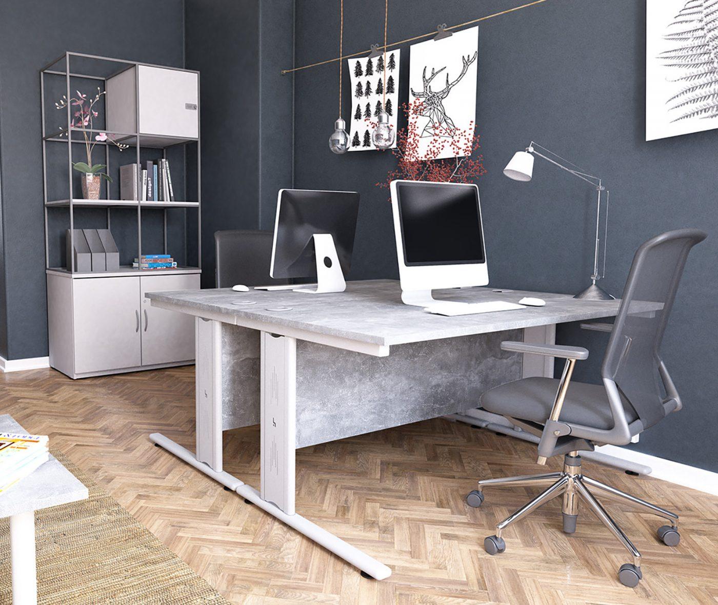 wire managed desk, cable management, rectangular desk, cantilever leg, concrete top, silver leg