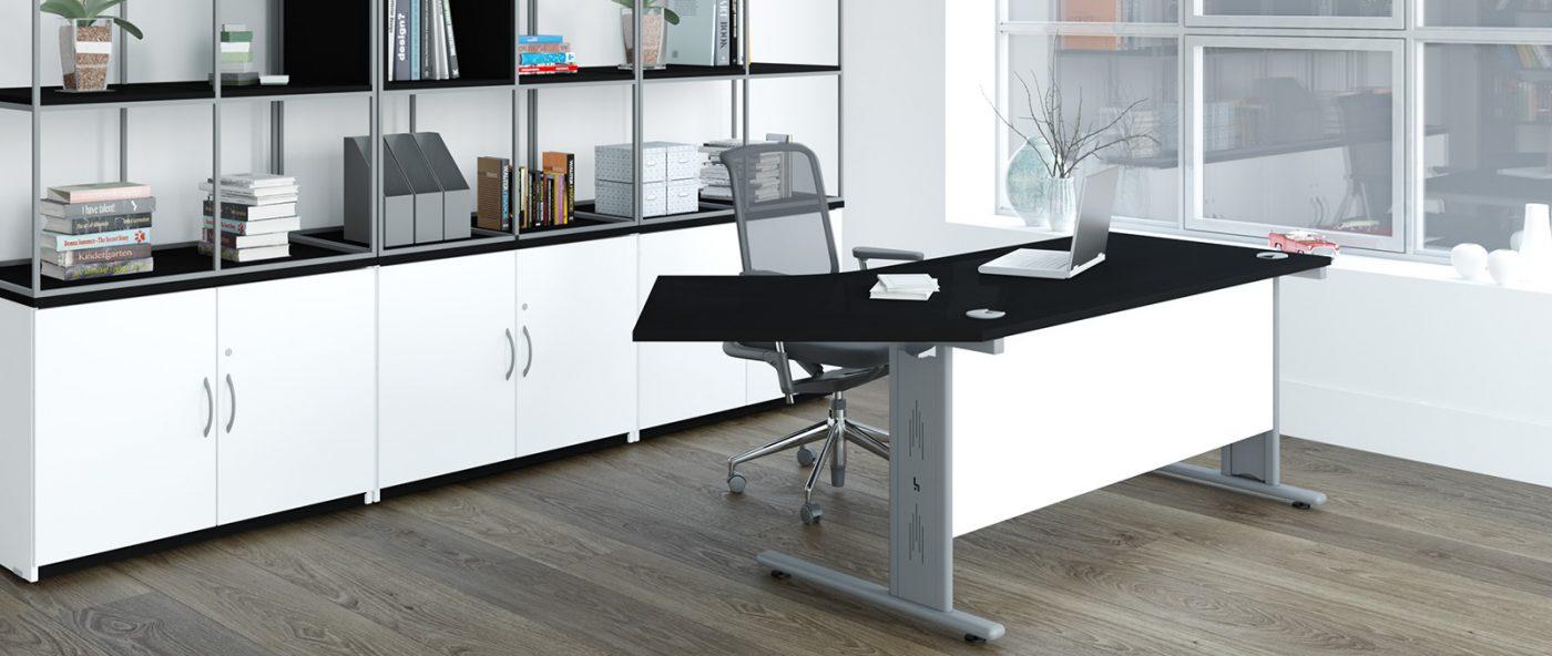 angular desk, black desktop, mod panel, wire-managed desk, cantilever leg desk, silver legs