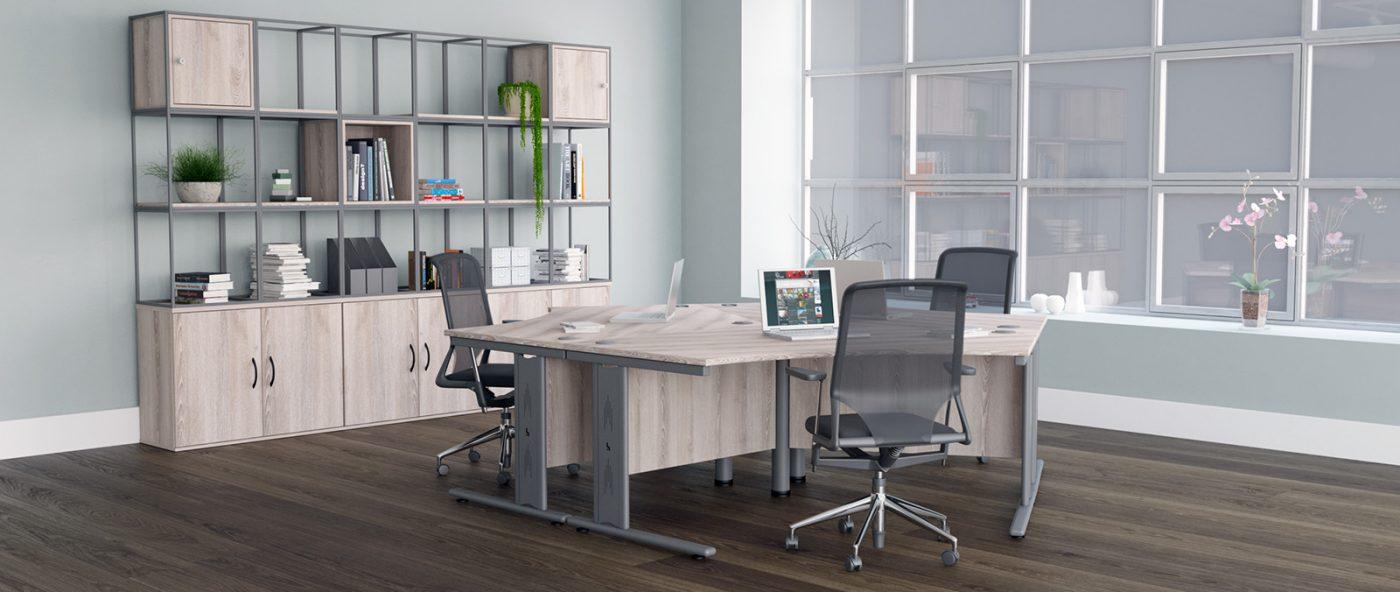 wire managed desk legs, cable management, core unit, core unit cluster, cluster desks