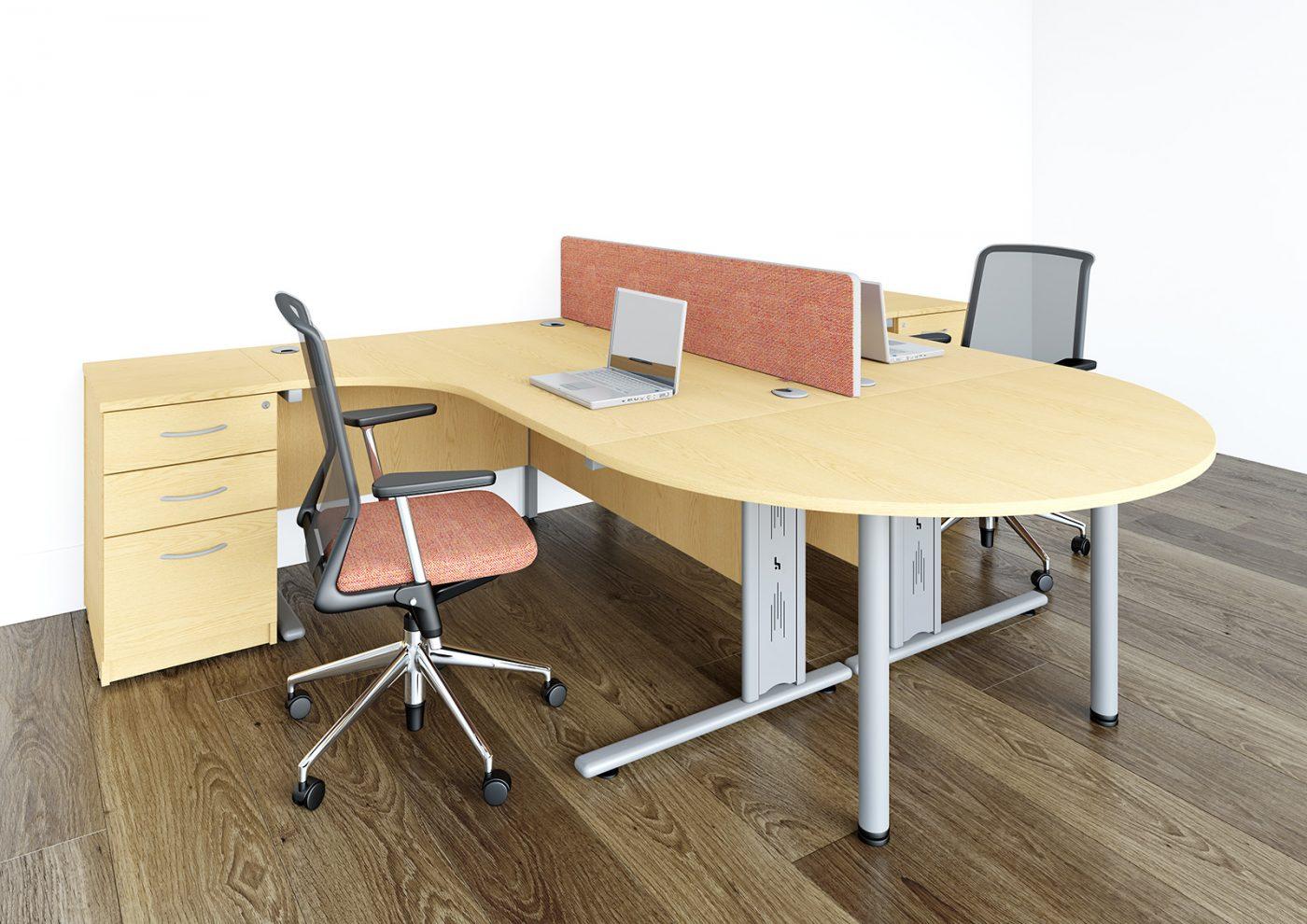 j shape desk, desk extension, desktop screen, back-to-back desk, under desk storage, cantilever desk, wire managed, cable management