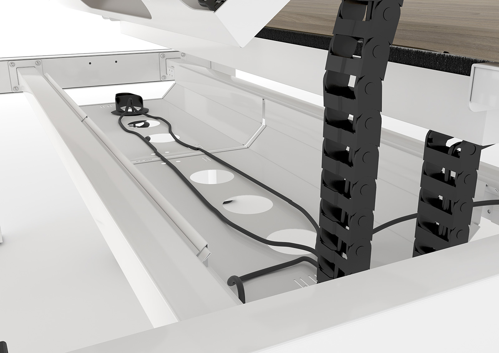 cable management, spine, cable tray, brush strips