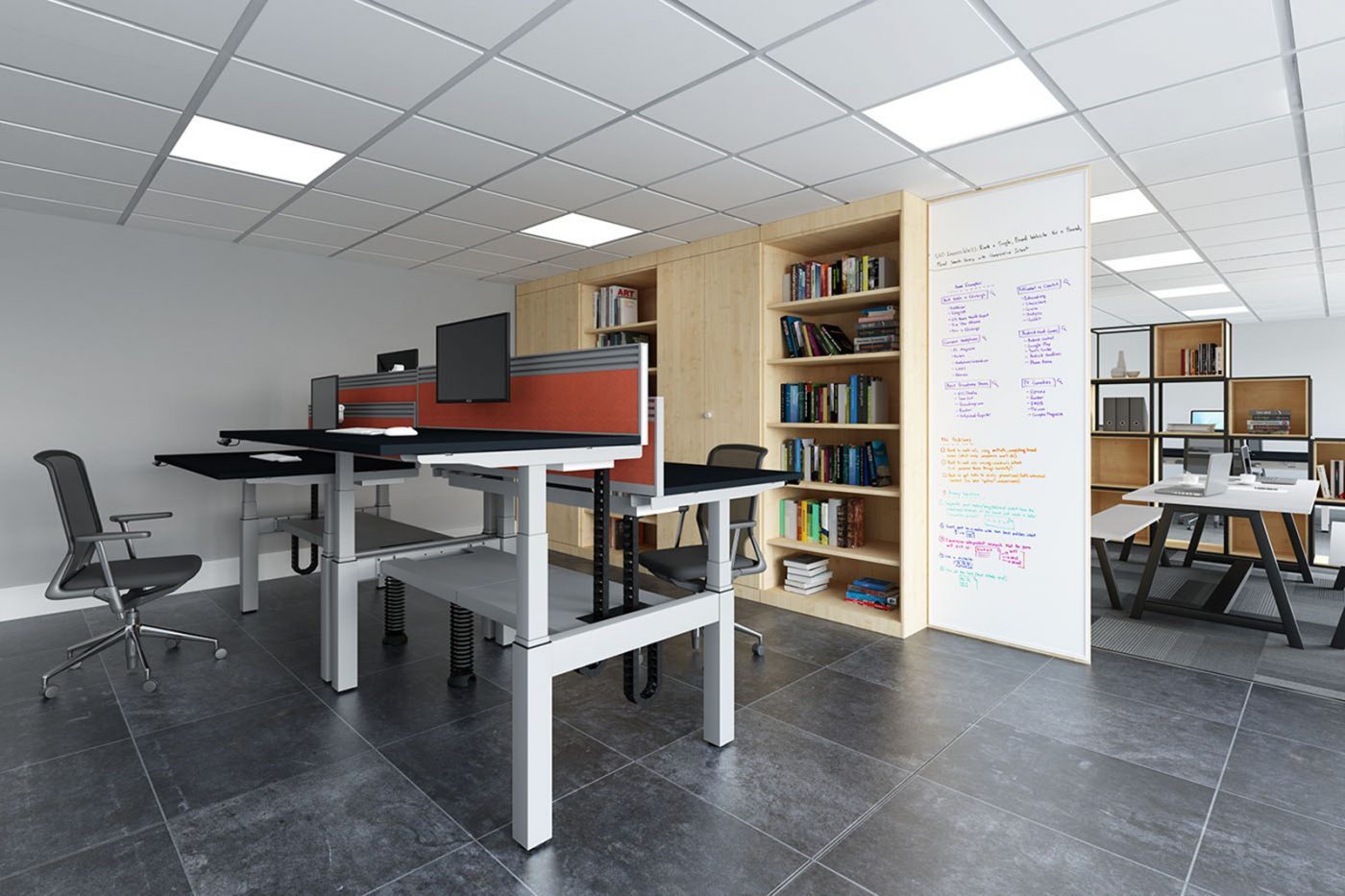 height adjustable, sit stand, back-to-back desk, double bench, white frame, oak desk, dividing screen, cable management, slinky, spine,