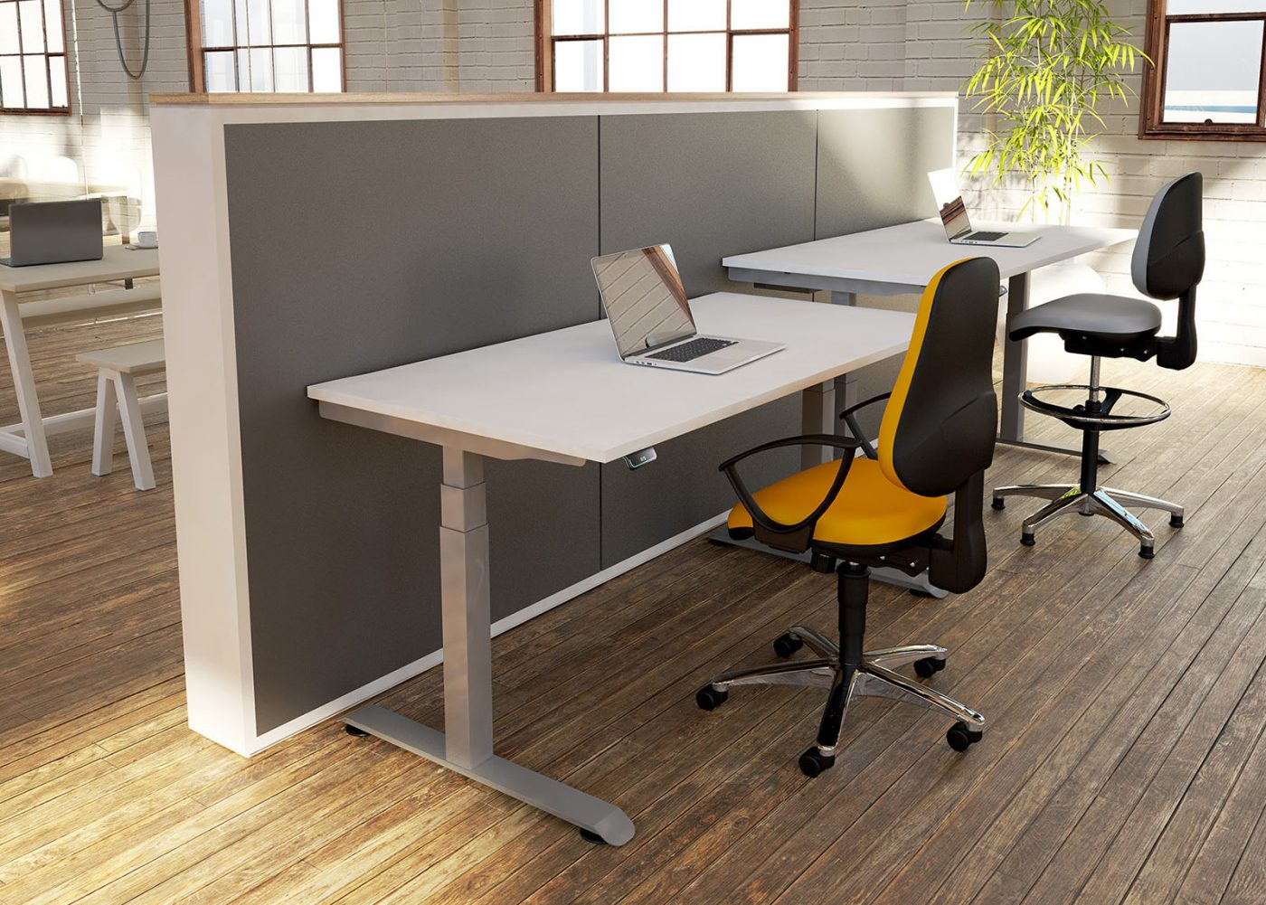 single desk, height adjustable, sit stand desk, silver frame, white finish