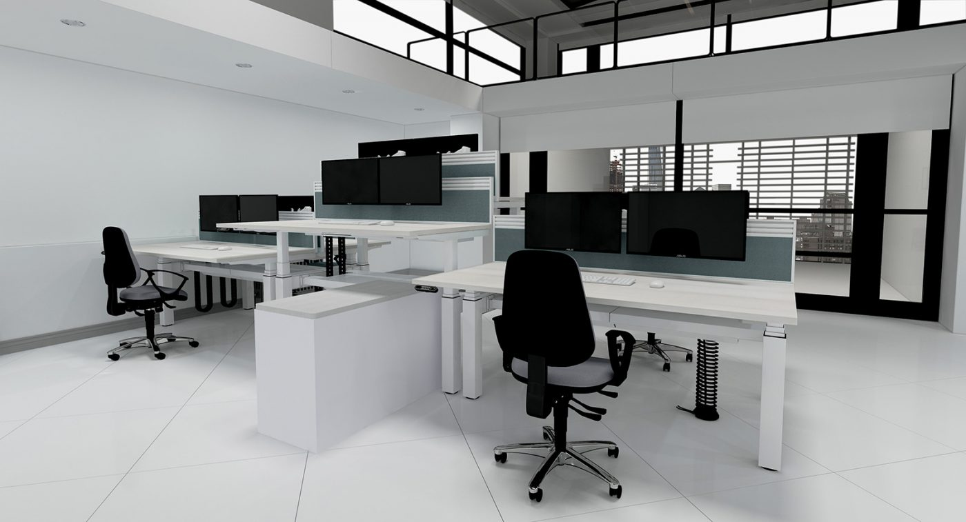 height adjustable, back-to-back desk, double bench, cable management, cable tray, slinky, CPU holder, toolbar screen, dual monitor
