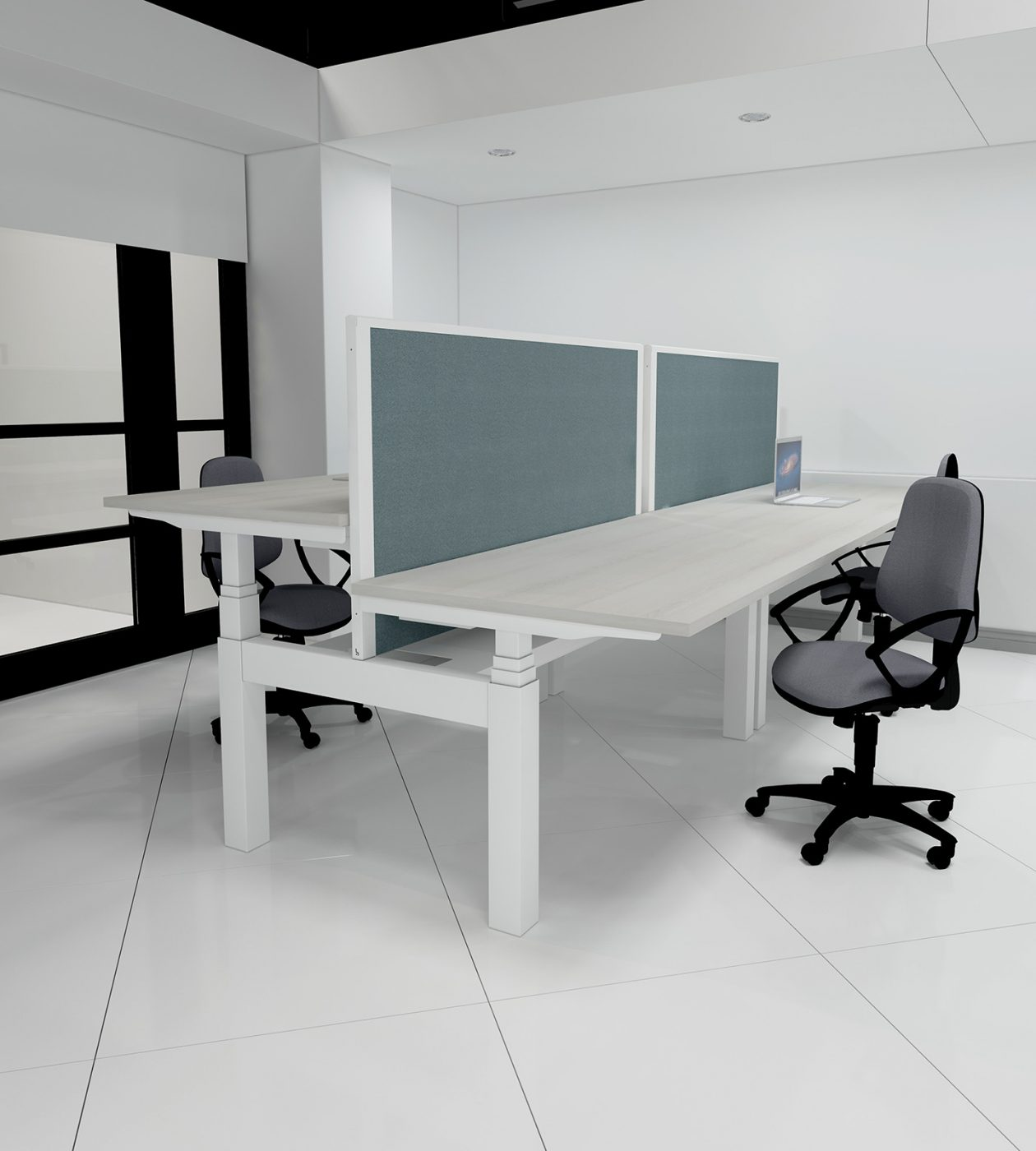 height adjustable, back-to-back desk, double bench, cable management, cable tray, slinky, dividing screen