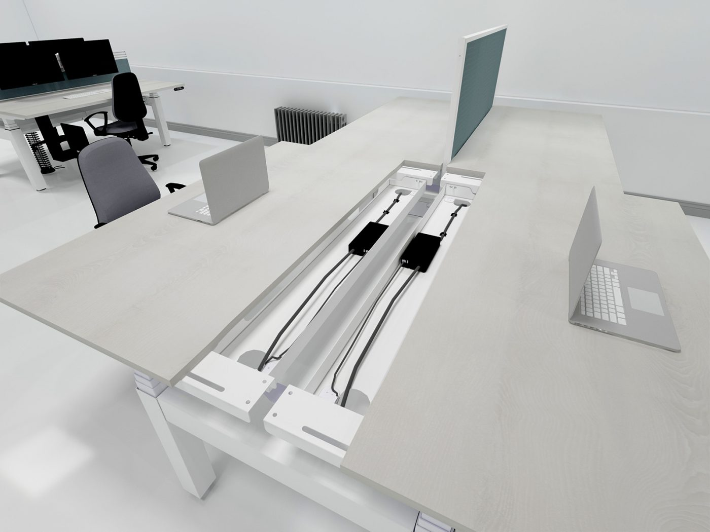 height adjustable, back-to-back desk, sliding tops, cable management, cable trays, dividing screen, desktop screen