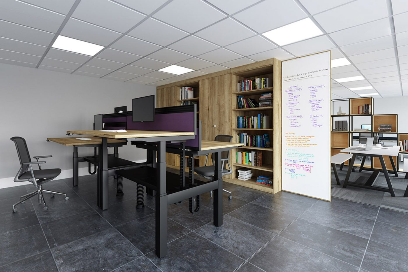 height adjustable, back-to-back desk, double bench, cable management, cable tray, slinky, toolbar screen, halifax oak, office furniture, office interior