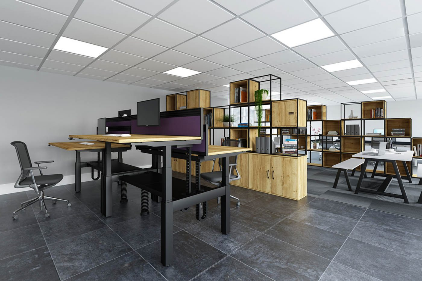modular storage, customisable storage, office storage, oak, MFC
