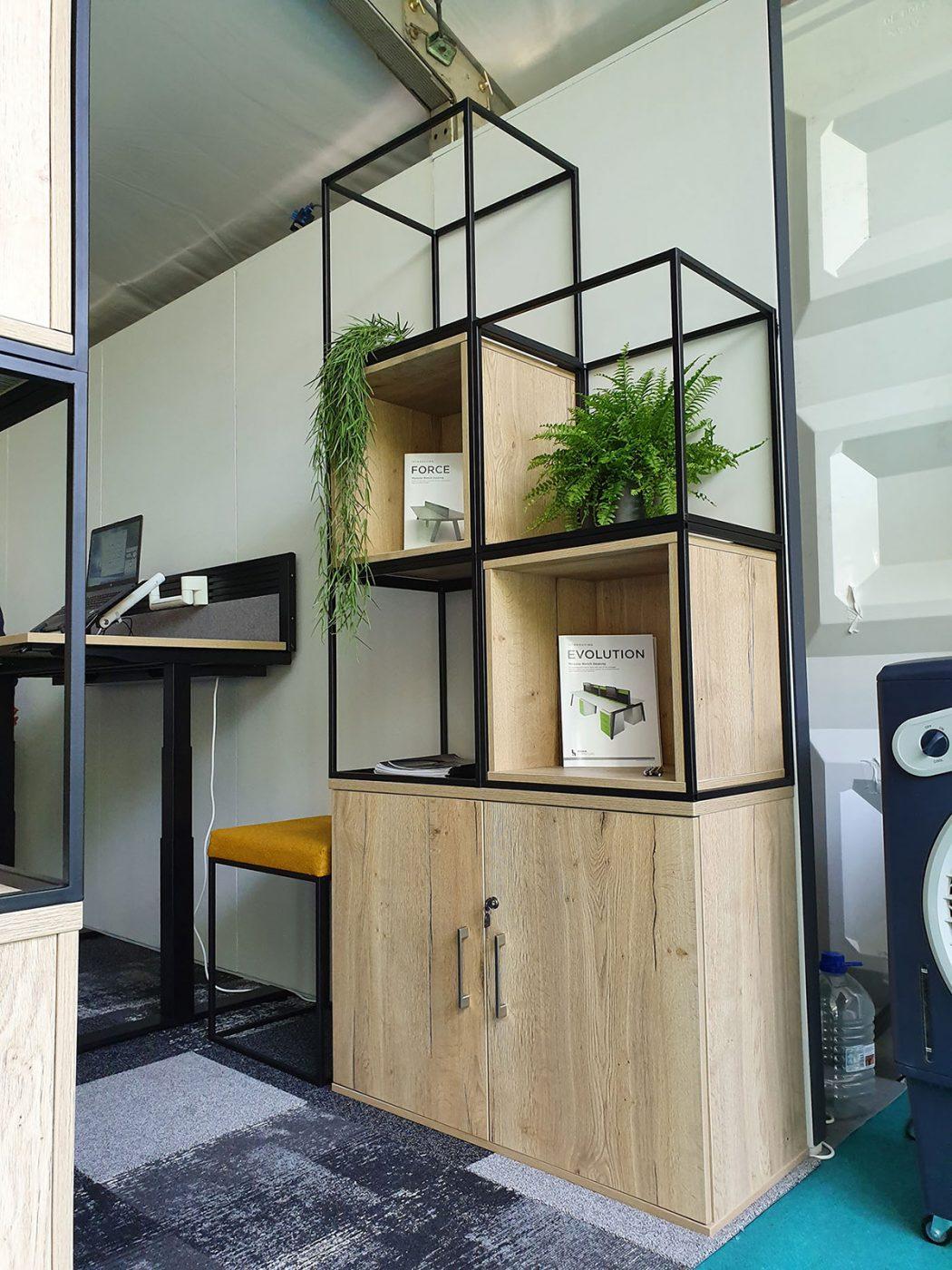 halifax oak, office storage, modular storage, customisable storage, alcove, shelves