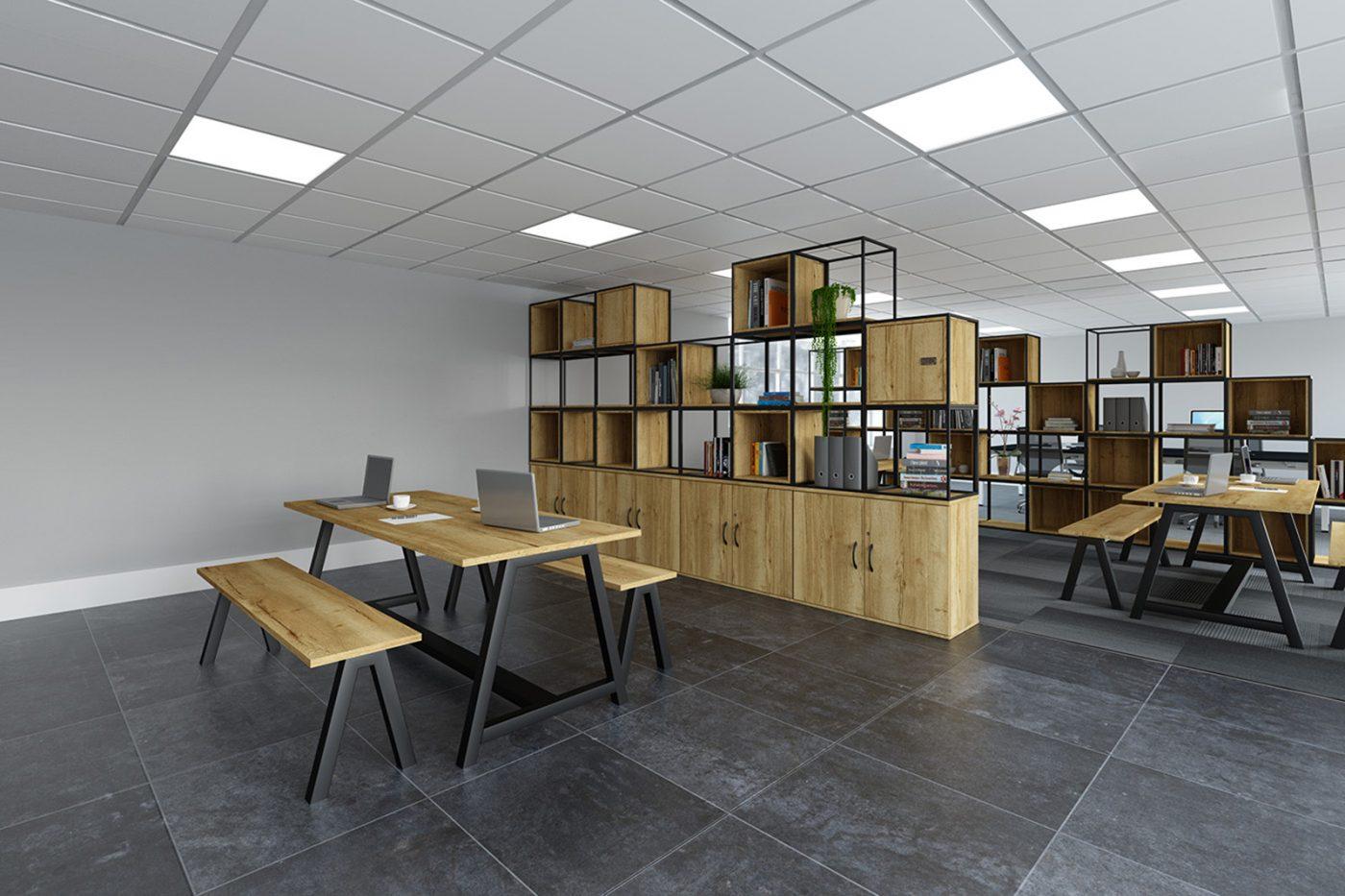 black frame, halifax oak, grid storage, box storage, contemporary storage