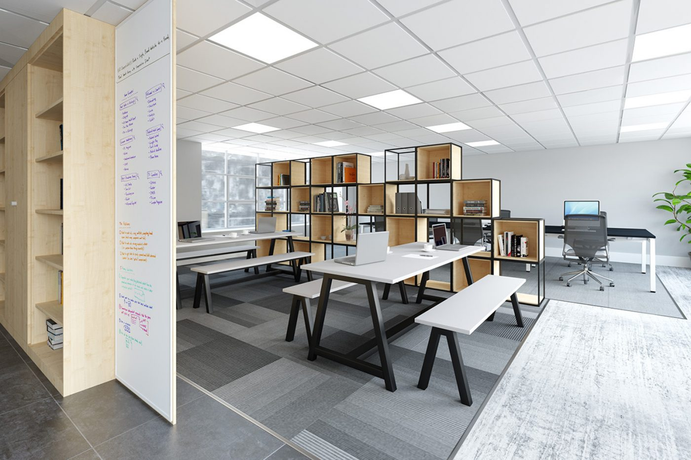 modular storage system, office storage, box storage, grid storage
