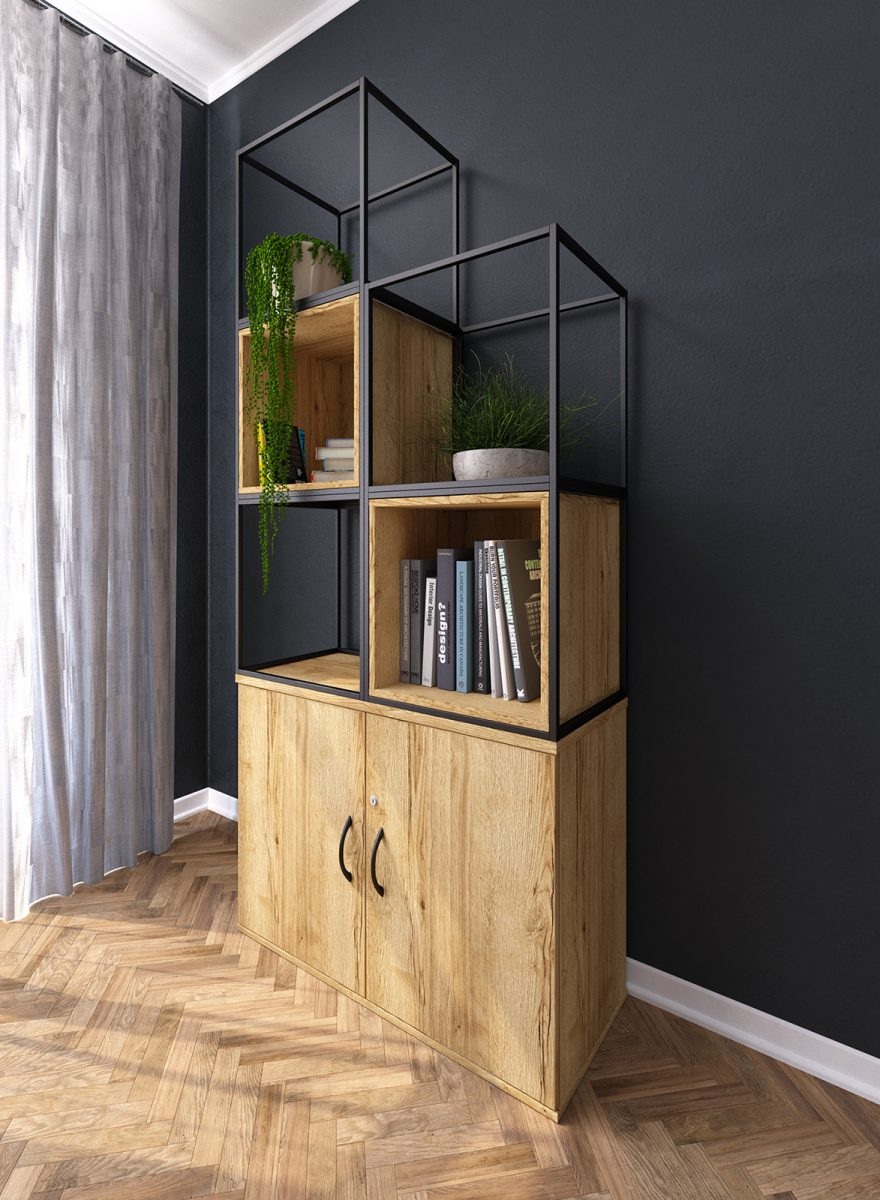 grid storage, halifax oak, grid metalwork, black grid, bookcase, shelves