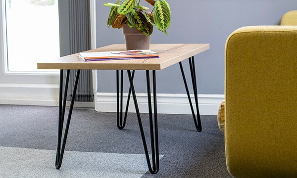 hairpin leg, coffee tables, rectangular table, halifax oak, office interior, office furniture