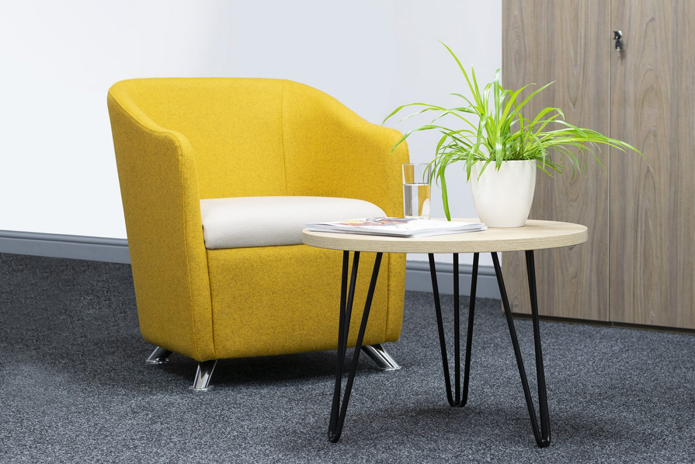 ciruclar coffee table, hairpin leg table, coffee table, modern table, reception table, breakout table, affordable table, cheap table