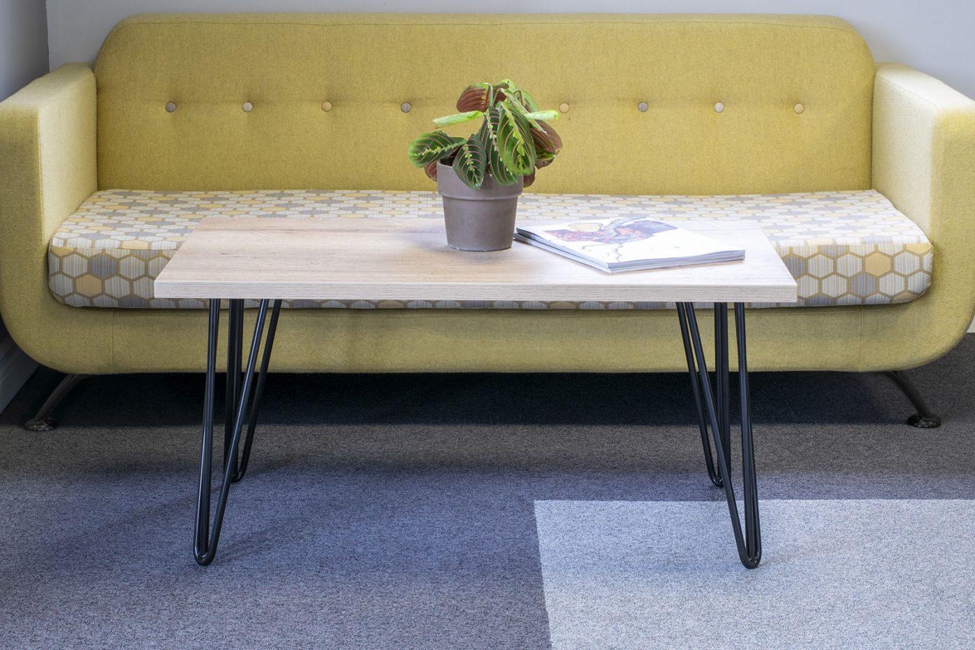 rectangular table, low table, reception table, breakout area table, oak table, hairpin leg, black hairpin leg