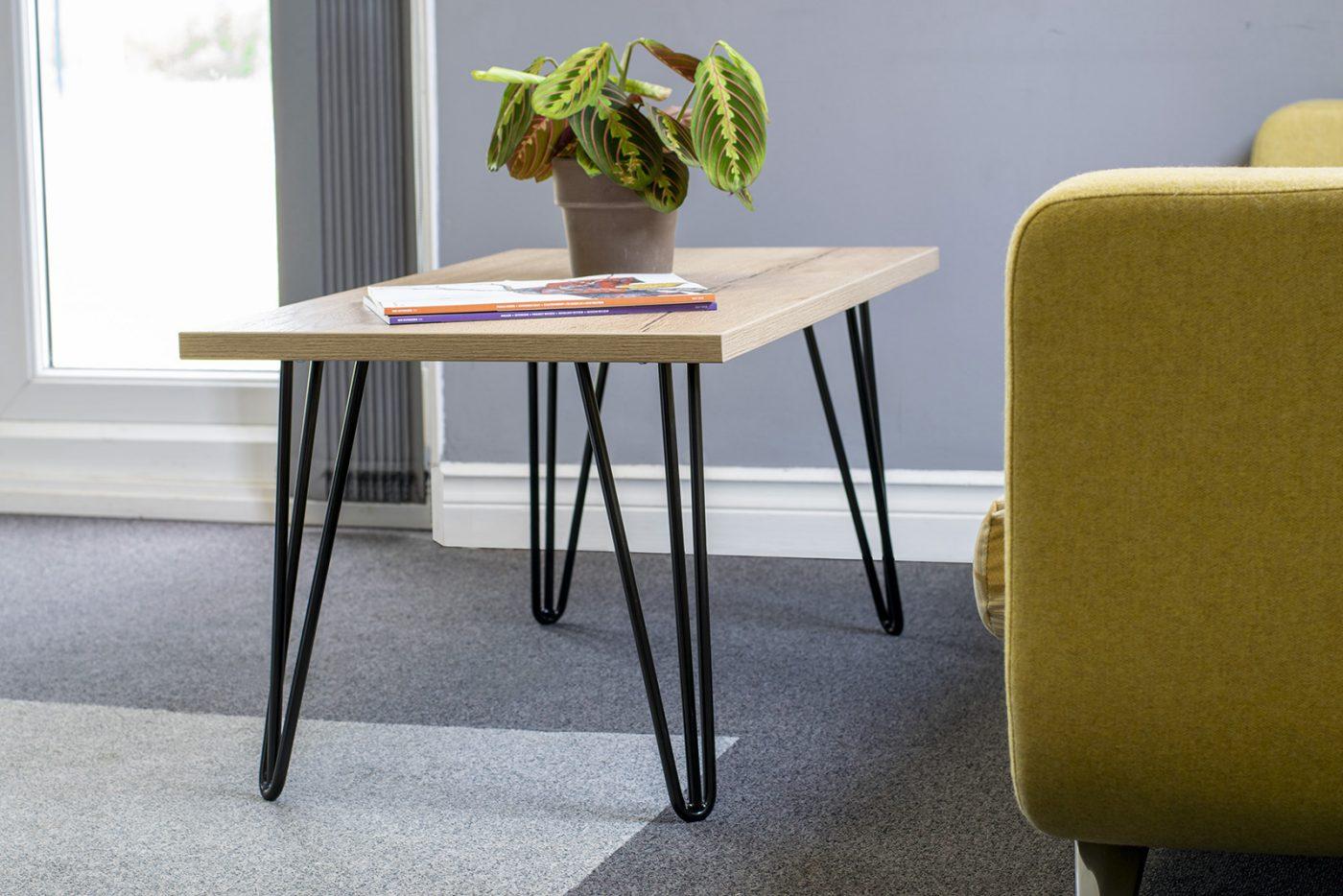 hairpin leg coffee table, contemporary table, reception table, breakout table, oak, grained oak, rectangular table, metal leg table, black legs