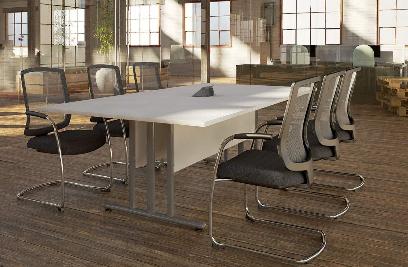 I frame, modesty panel, meeting table, boardroom table, silver metalwork
